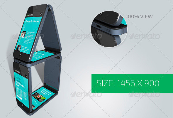 Black Phone 5 Perspective View Mockup