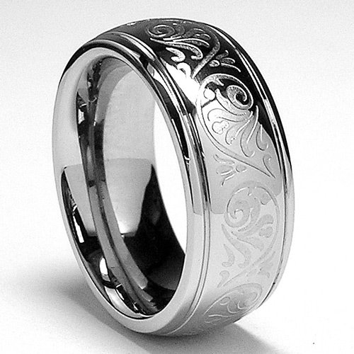 7MM Stainless Steel Ring With Engraved Florentine Design Sizes 4 to 11