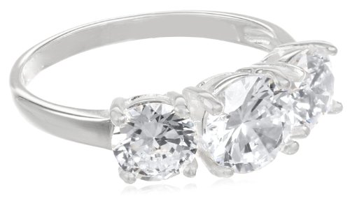 Sterling Silver Three-Stone Simulated Diamond Ring