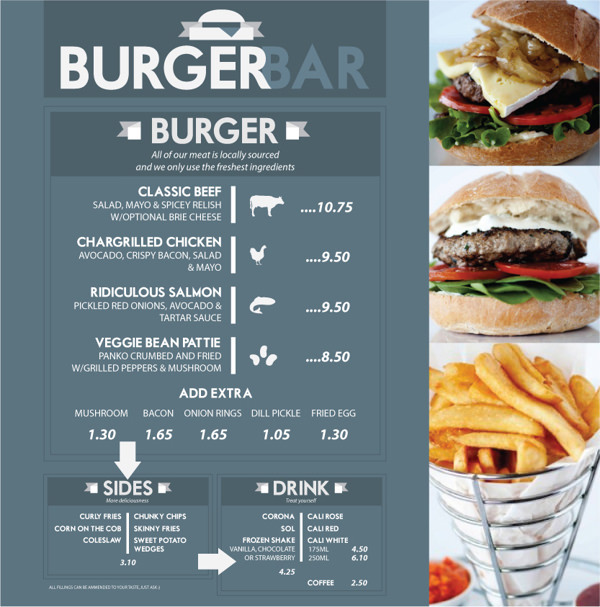 Burger Bar Menu by Robin Wells