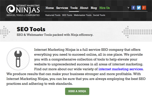 Internet Marketing Ninjas SEO Tools