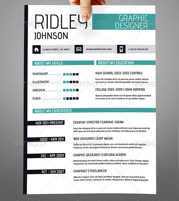 20 cool indesign resume templates  u2013 blogoftheworld