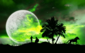 Love Couple In Moon Night wallpaper
