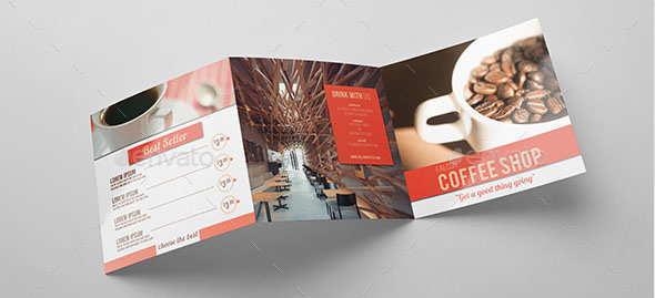 Minimal Square Coffee Shop Trifold