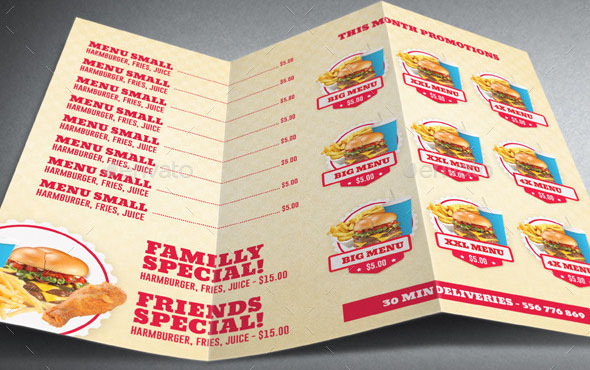 Restaurant Fast Food Menu Trifold Brochure