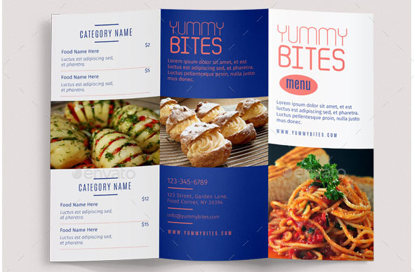 Restaurant Food Menu Trifold Brochure Vol3