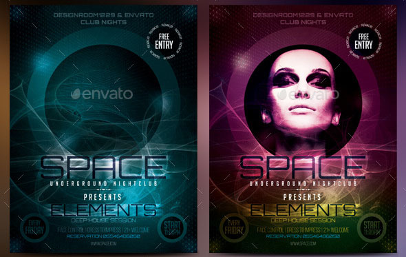 Space Club Flyer Template