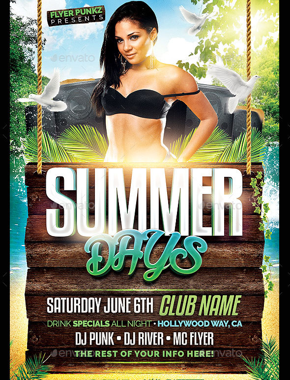Summer Days Club Flyer Template