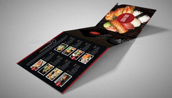 Sushi Restaurant Menu Square 3-Fold Brochure