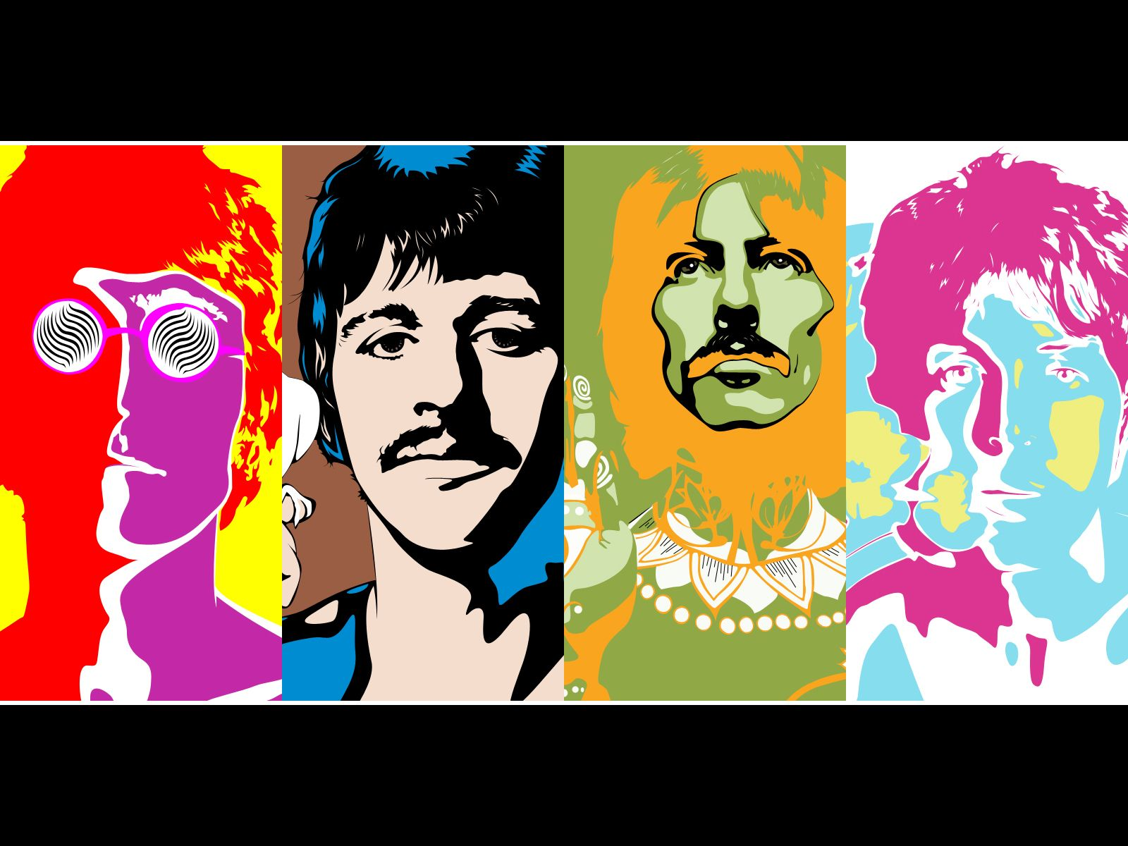 Water Color of Beatles Image Wallpaper