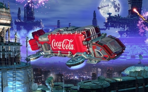 flying Coca Cola Truck Car Wallpaper
