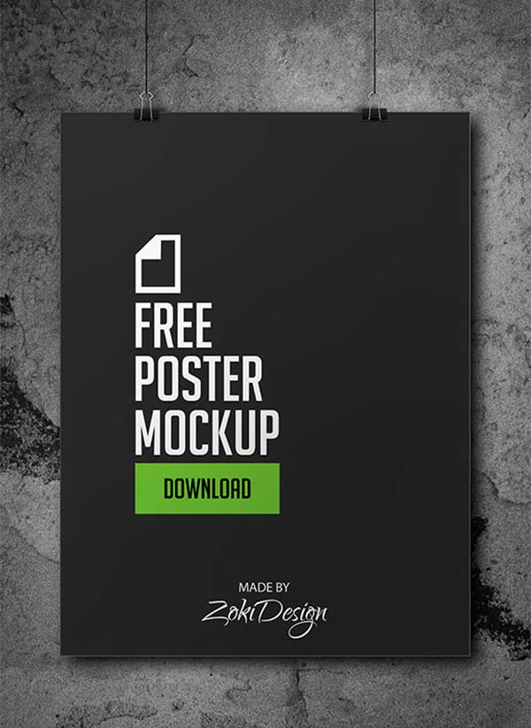 free psd hanging poster mock up template