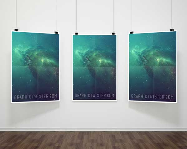 free psd hanging posters mock up