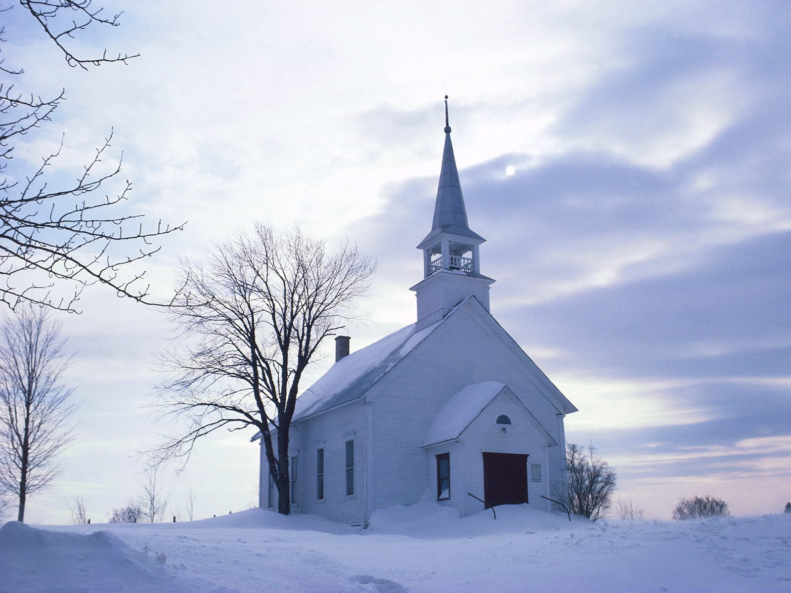 snowy church and xmas - photo #38