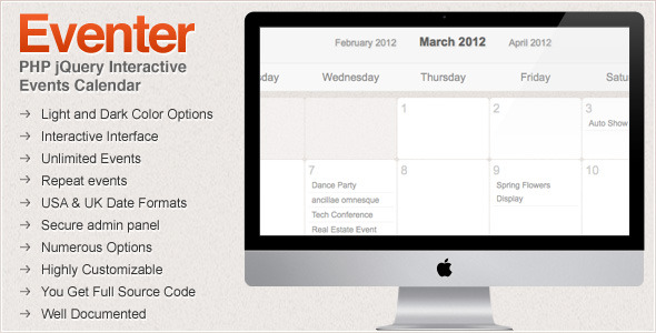 Eventer PHP jQuery Interactive Events Calendar