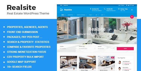Realsite Material Real Estate WordPress Theme