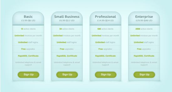 Blue Pricing Table PSD