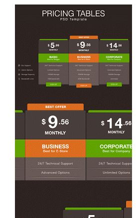 Dark Pricing Table psd