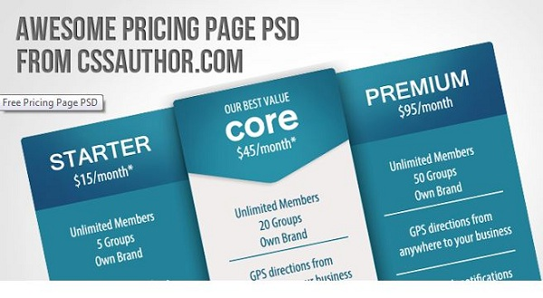 Pricing Page psd