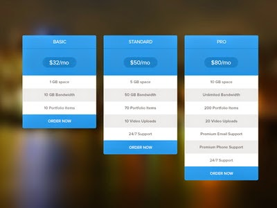Pricing table Psd Format