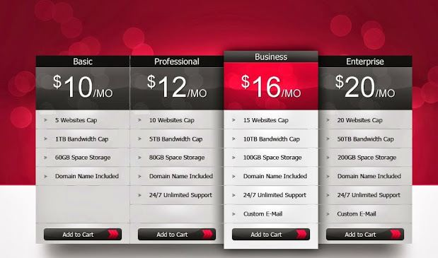 Professional Pricing Table Psd