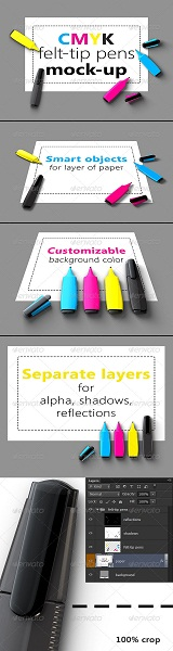CMYK Felt-tip Pens Mock-Up