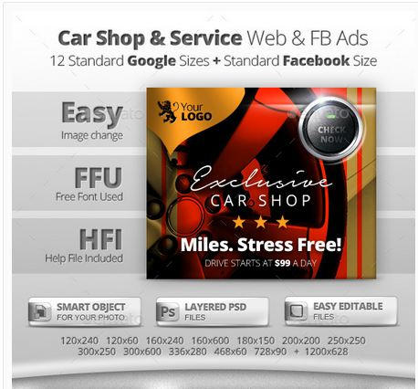 Car Shop & Service Web & Facebook Banners