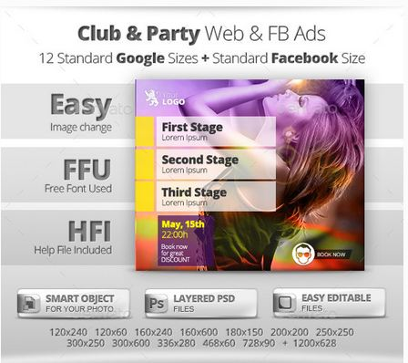 Club & Party Web & Facebook Banners Ads