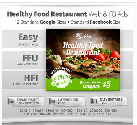 Healthy Restaurant Web & Facebook Banners Ads
