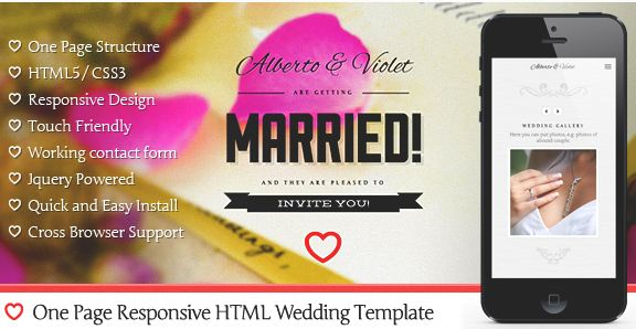 One Page Responsive Wedding Invitation Template