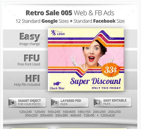 Retro Sale 005 Web & Facebook Banners Ads
