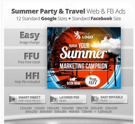 Summer Party & Travel Web & Facebook Banners
