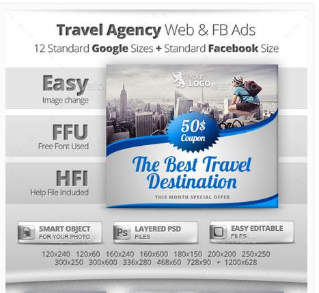 Travel Agency Web & Facebook Banners Ads