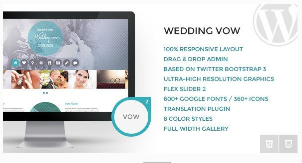Wedding vow - Responsive WordPress Theme