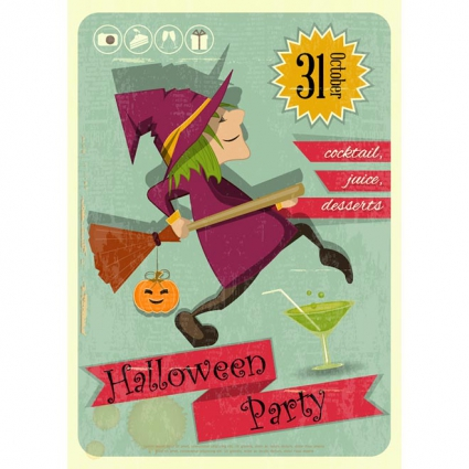 18. halloween_party_witch_retro_template_design